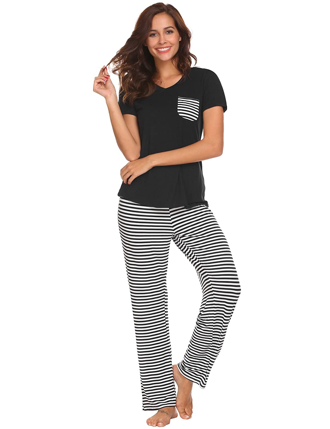 Hotouch Womens Pajama Set Striped Short Sleeve Top   Pants Sleepwear Pjs  Sets at Amazon Women s Clothing store  9088beb2f