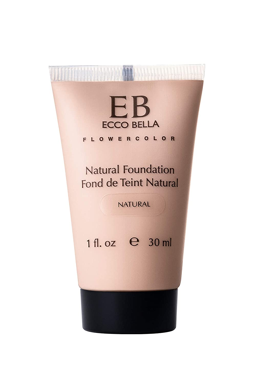 Ecco Bella Natural Liquid Foundation | Vegan, Gluten and Paraben-Free Makeup for Flawless Coverage, Natural, 1 oz.