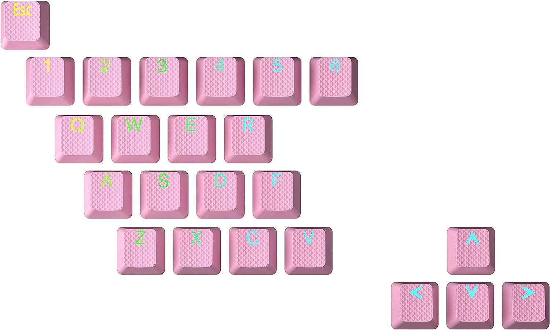 HK Gaming Juego de teclas dobles retroiluminadas de goma | Perfil OEM para teclado mecánico (23 teclas, color rosa prisma)