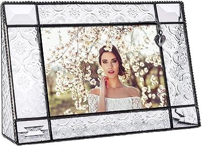 J Devlin Pic 278-46H Vintage Glass Picture Frame 4x6 Horizontal Photo Frame Heart Accent Decorative Keepsake