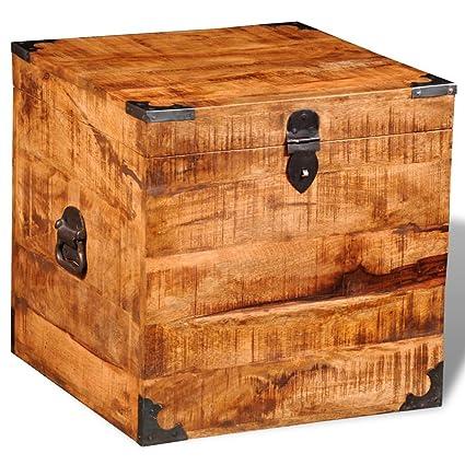 Furnituredeals Cajas de almacenaje Madera Baul Cuadrado para almacenaje de Madera Maciza de Mango Caja de