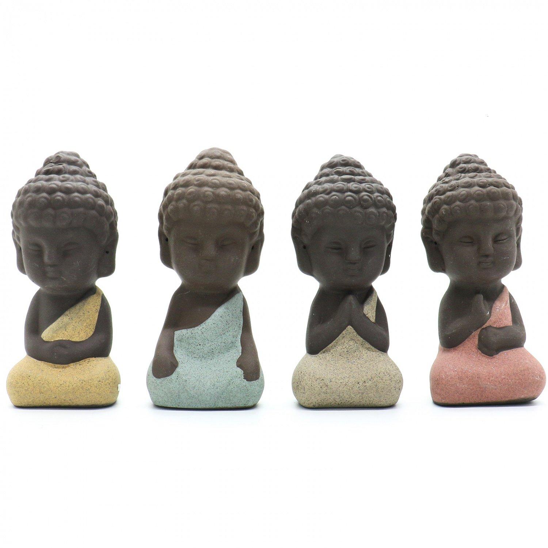 HUELE 4 Pieces Traditional Cute Small Buddha Statue India Yoga Mandala Sculptures Monk Figurine Monk Tea Pet Decoration on KungFu Tray