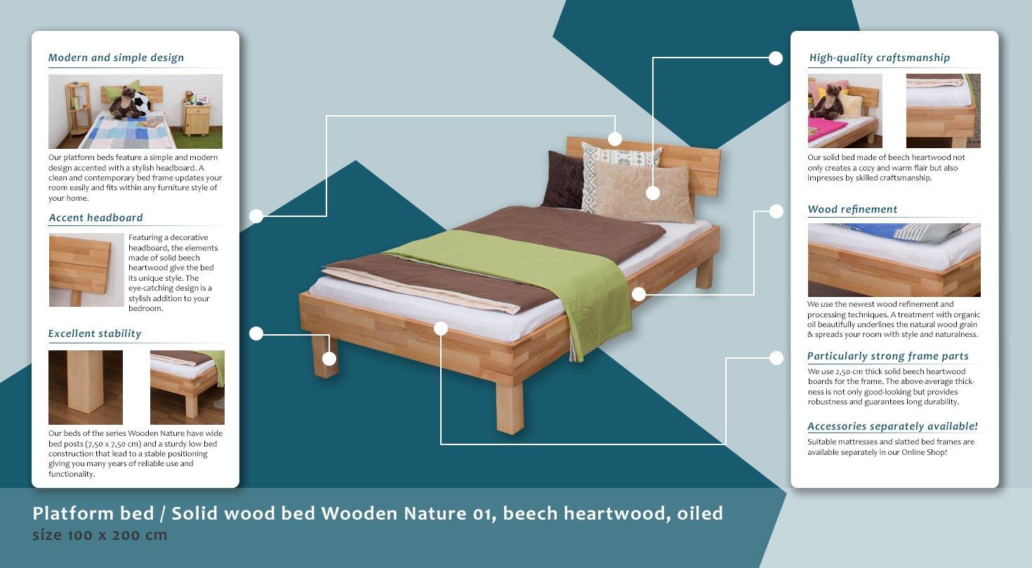 Futonbett/Massivholzbett Wooden Nature 01 Kernbuche geölt ...