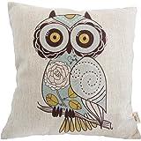 """HOSL Square Decorative Throw Pillow Case Cushion Cover Cartoon Green Cute Cartoon Owl 18 """"X18 """""""