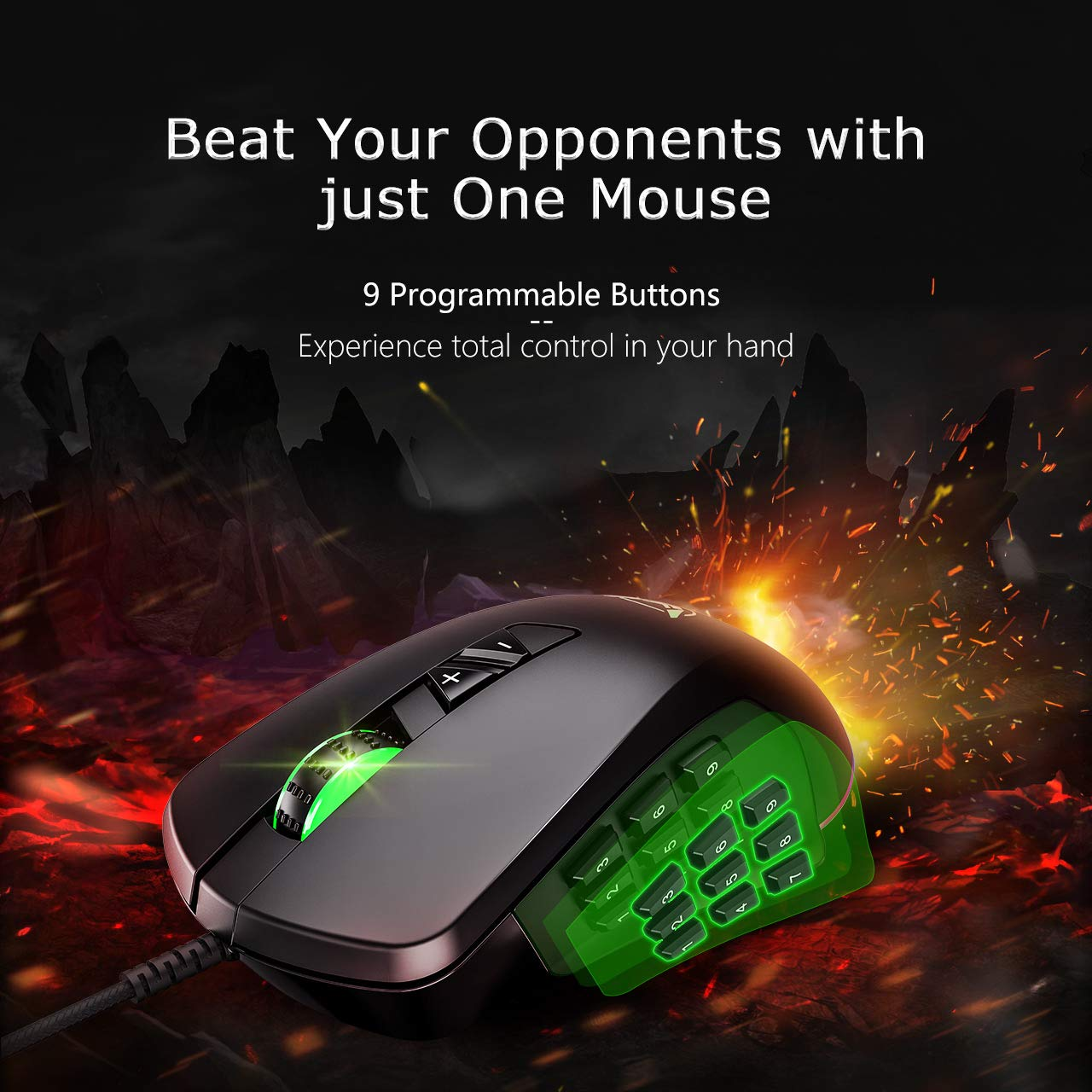 PICTEK MMO Gaming Mouse, 4 Magnetic Interchangeable Side Plates – 24,000 Adjustable DPI Optical, High Precision, PMW3360 Advanced Gaming Sensor – Customizable RGB Backlit for Windows PC Games – Black