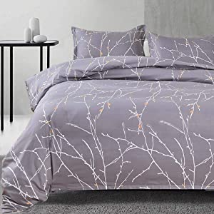 NANKO Queen Duvet Cover Set Gray Tree Branch Floral Pattern Printed 3pc 90x90 Luxury Microfiber Down Comforter Quilt Bedding Cover with Zipper Closure Ties - Farmhouse for Men and Women Gray