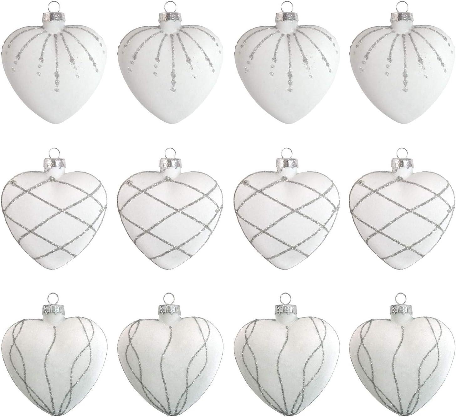 Unbekannt 12er Boule de no/ël Ensemble Coeur 8cm Verre 3 vari/ét/és Boules de Sapin de no/ël d/écorations pour Arbres de no/ël Boules de Verre en Forme de Coeur Coleur:Blanc