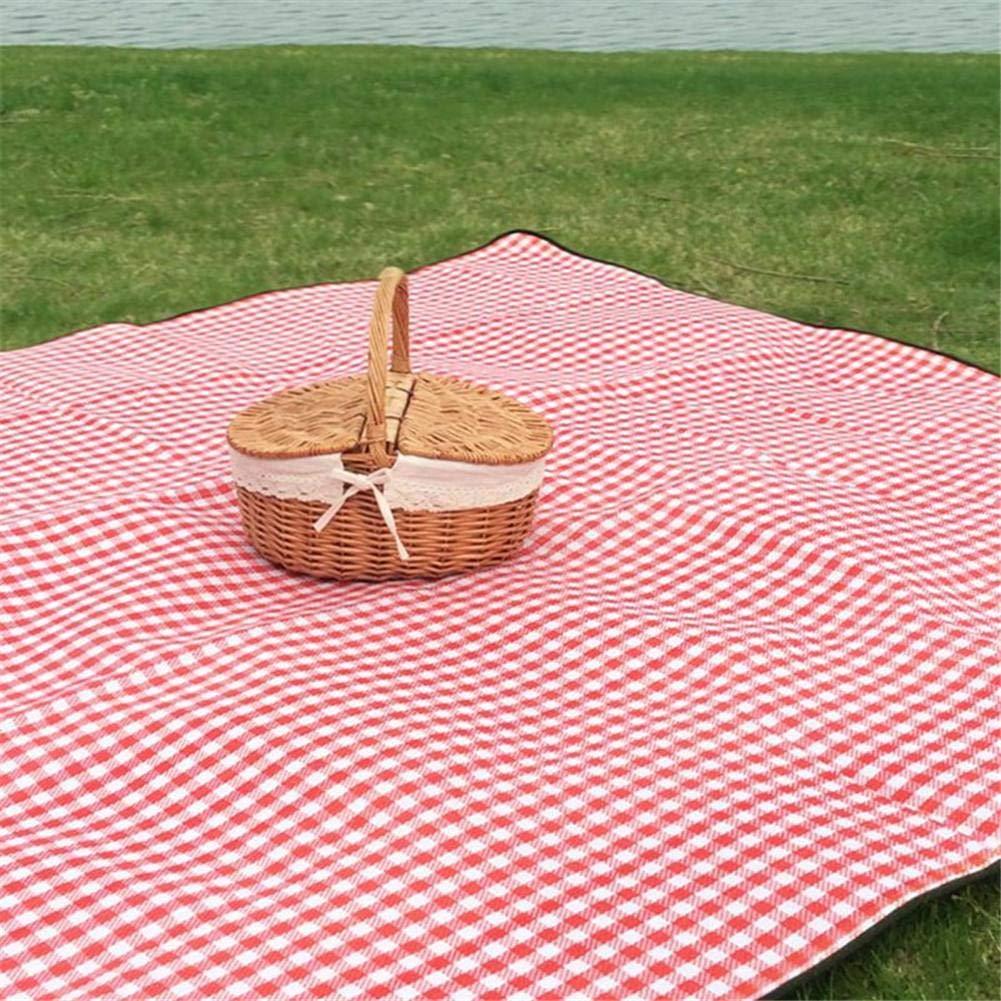 doppeltem Deckel und Leinenbaumwollfutter britischer Landhausstil Wicker-W/äschekorb f/ür Picknick Camping Wandern Einkaufen Betteros Handgefertigter Wicker-Picknickkorb gro/ßer Wicker-Korb mit Griff