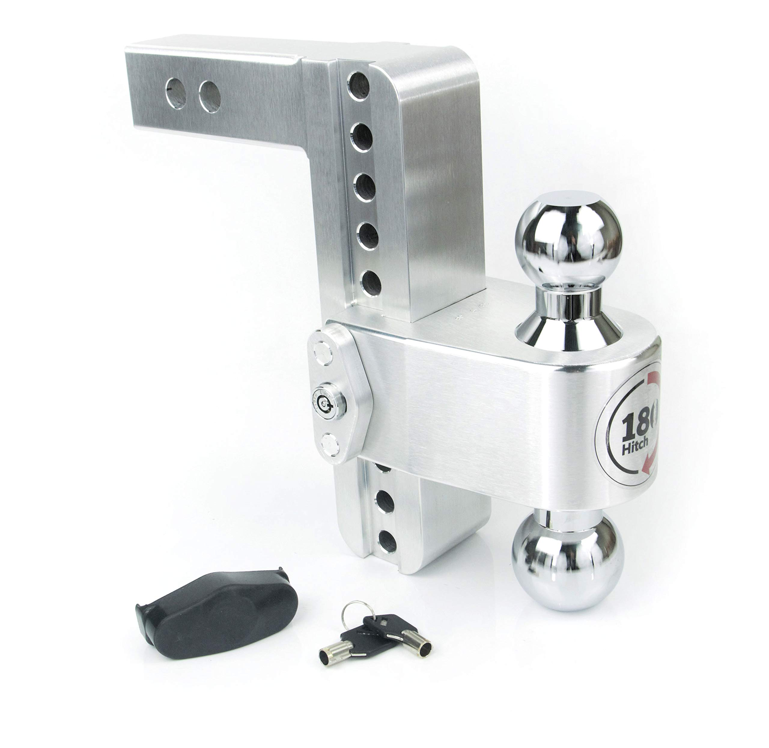 Weigh Safe CTB8-2, 8'' Drop 180 Hitch w/ 2'' Shank/Shaft, Adjustable Aluminum Trailer Hitch & Ball Mount, Chrome Plated Steel Combo Ball (2'' & 2-5/16'') and a Double-pin Key Lock