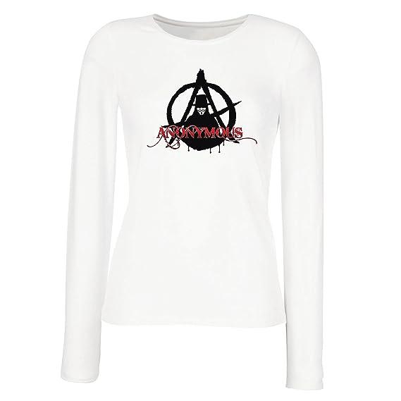 lepni.me Camisetas de Manga Larga para Mujer The Anonymous Hacktivist Mask - Anarchic, Cerebro Global digitalizado: Amazon.es: Ropa y accesorios