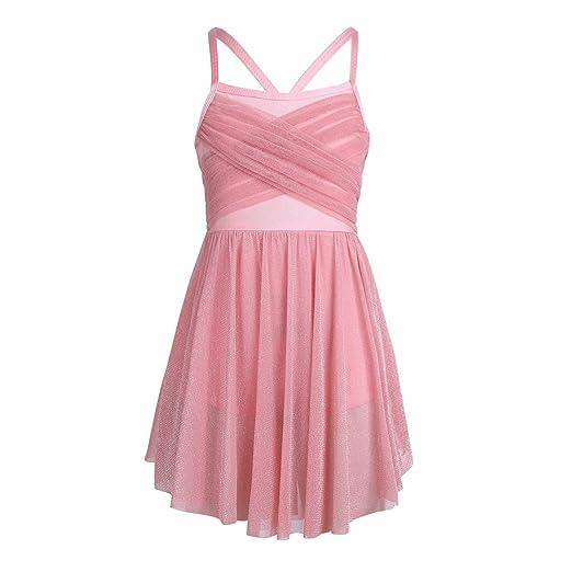 ba5d4ac17b7c YiZYiF Girls' Glittery Mesh Overlay Lyrical Dance Dress Stage Ballet  Ballroom Dancing Costumes Blush 4