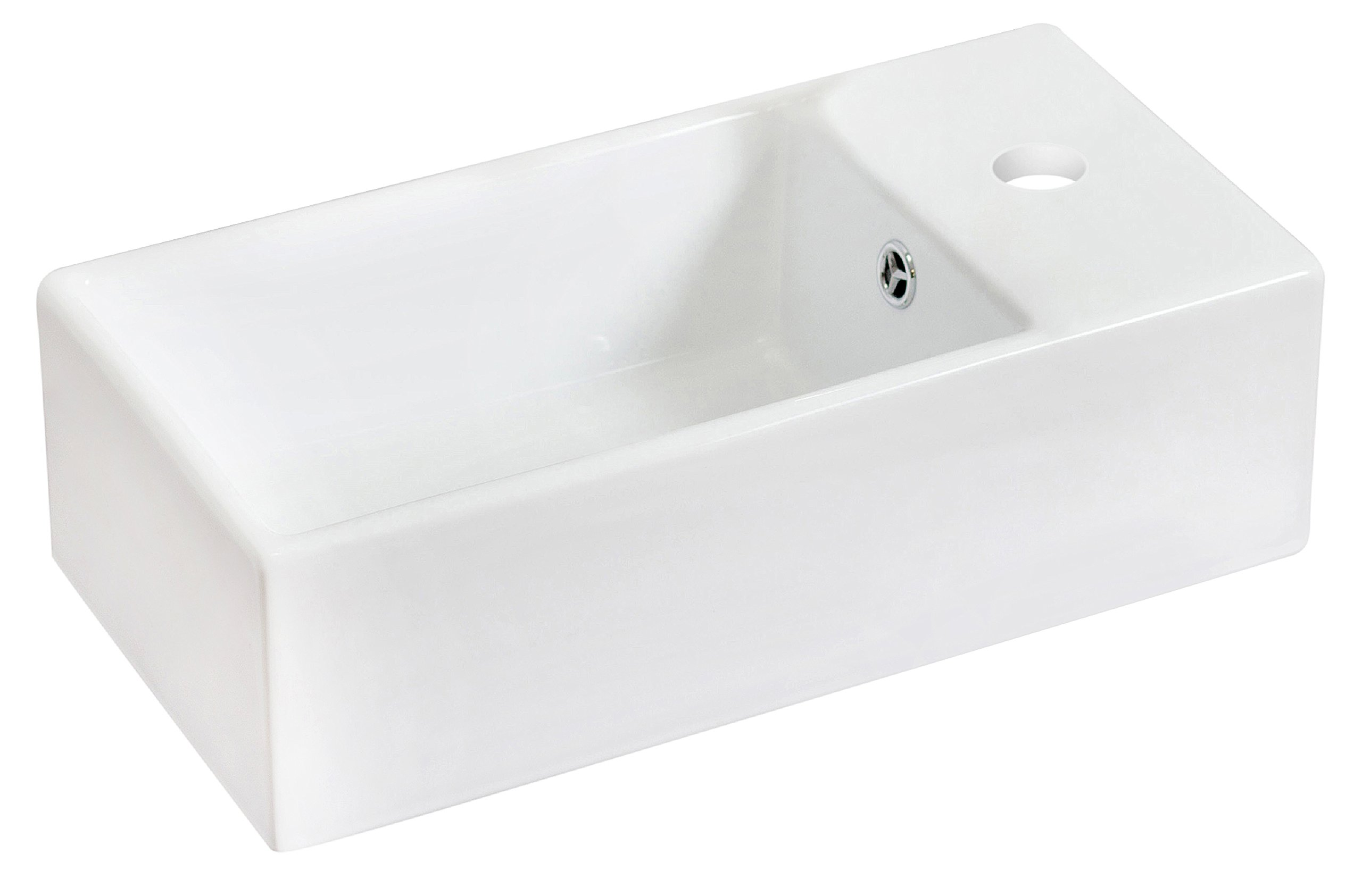 American Imaginations AI-13-582 Above Counter Rectangle Vessel for Single Hole Faucet, 18-Inch x 10-Inch, White by American Imaginations