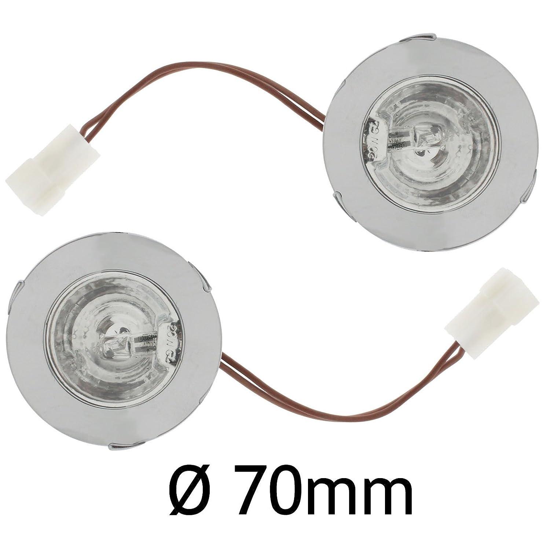SPARES2GO Cooker Hood T1250 Round Chrome Spot Light (Pack of 2, Diameter: 70mm, 20 Watt, 12 Volts)