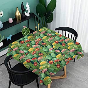 oobon Water-Proof Table Cover, Garden Flowers Cactus Texas Desert Botanic Various Plants with Spikes Pattern, Kitchen Rectangle Protective Tablecloth, 63x63 inch