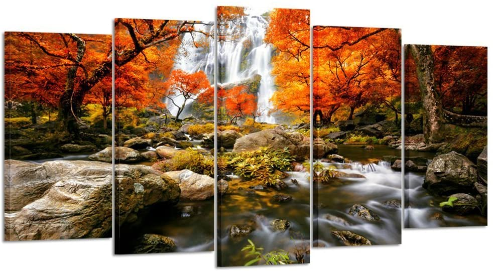 Amazon Com Kreative Arts Autumn Forest Waterfalls 5 Piece Modern Wrapped Giclee Canvas Prints Artwork Landscape Tree Paintings Pictures On Canvas Wall Art For Living Room Large Size 60x32inch Posters Prints