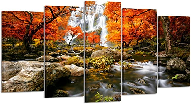 Kreative Arts Autumn Forest Waterfalls 5 Piece Modern Wrapped Giclee Canvas Prints Artwork Landscape Tree Paintings Pictures On Canvas Wall Art For Living Room Large Size 60x32inch Posters Prints