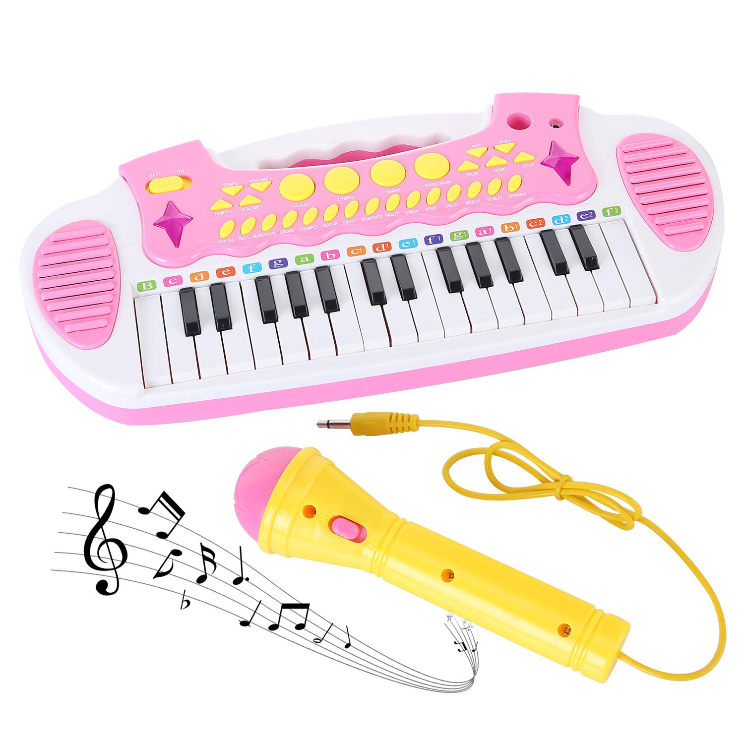 Love&Mini Piano Toy Keyboard for Kids Multifunctional Music Instruments with Microphone for Girls Birthday Gift 3 4 5 Years Old 31 Keys (Pink) by Love&Mini