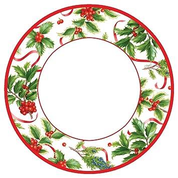 Entertaining with Caspari – Papel de adornos marfil ensalada/platos de postre de Navidad