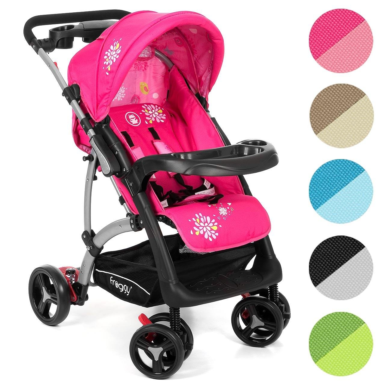 Froggy® RANGER.S4 pram buggy stroller push chair 4 Wheels Pink