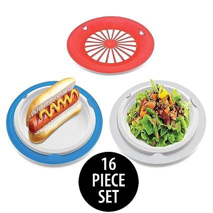 KOVOT Set of 16 Plastic Reusable Paper Plate Holders For 9u0026quot; Plates (Patriotic)  sc 1 st  Amazon.com & Amazon.com: KOVOT Set of 16 Plastic Reusable Paper Plate Holders For ...