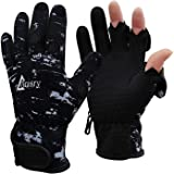 Drasry Neoprene Fishing Gloves Touchscreen 3 Cut Fingers Warm Cold Weather Waterproof Suitable for Men and Women Ice Fishing