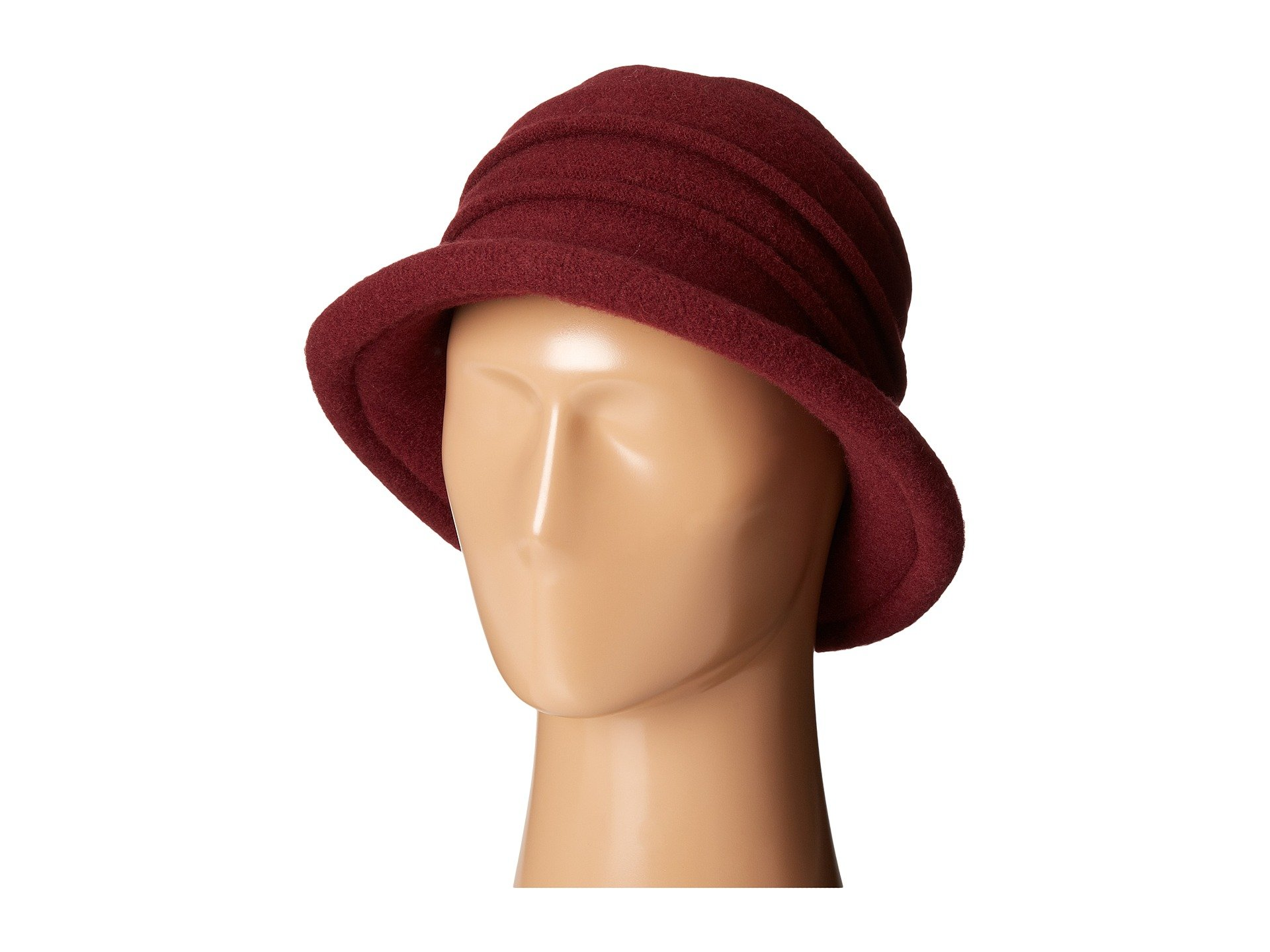 Scala Women's Packable Boiled Wool Cloche, Wine, One Size