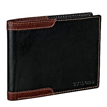 3bc5657235c38 STILORD Vintage Leder Brieftasche Geldbörse Herren Geldbeutel Portemonnaie  EC-Karten Retro Rinds Leder schwarz braun