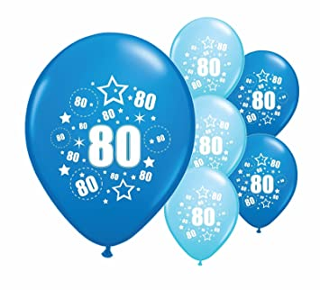 10 X 80th BIRTHDAY AGE 80 BLUE AND LIGHT 12 HELIUM QUALITY PERALISED PARTY BALLOONSPA Amazoncouk Toys Games