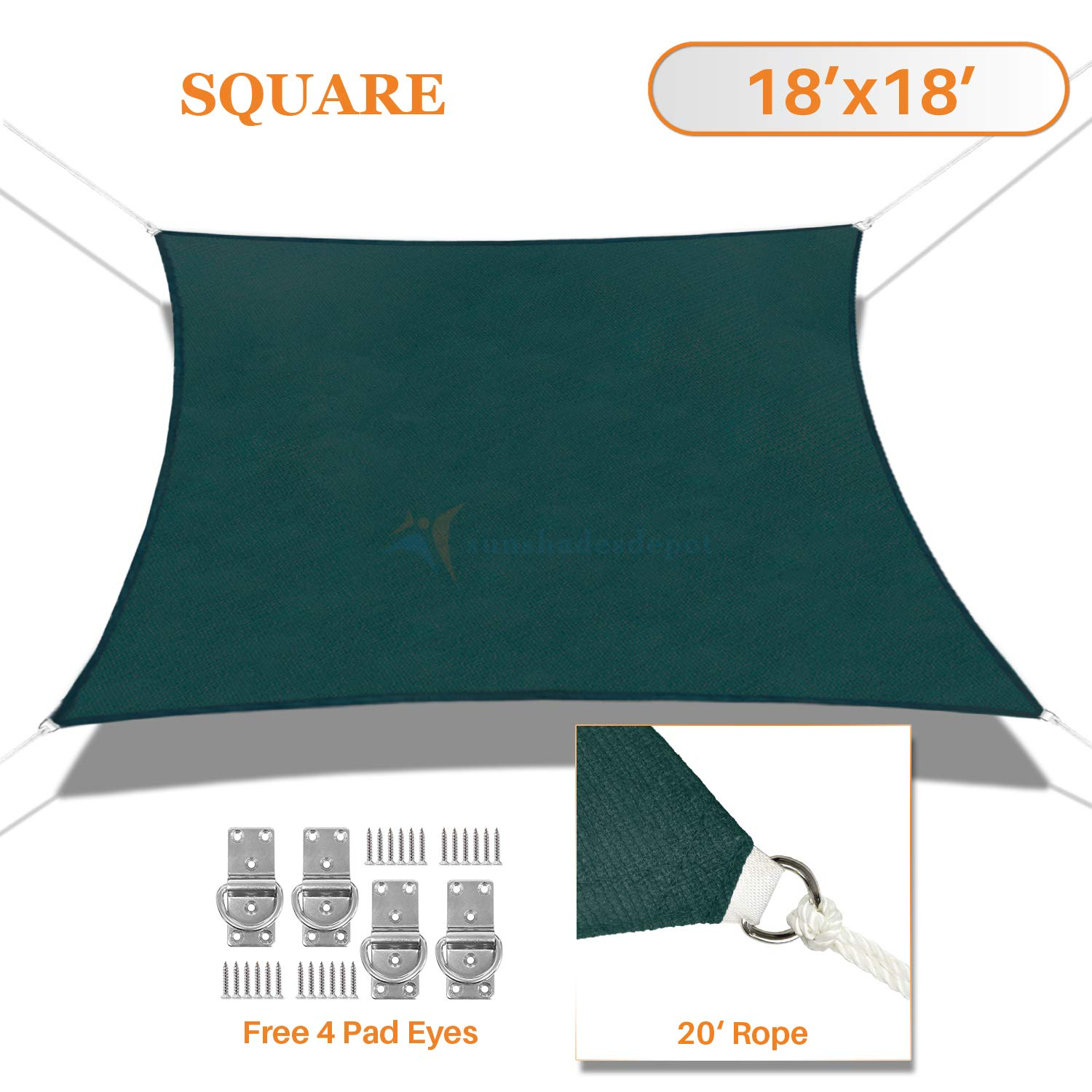 Sunshades Depot 18' x 18' Dark Green Sun Shade Sail, Rectangle Permeable Canopy CustomSize Available Commercial Standard 180 GSM HDPE