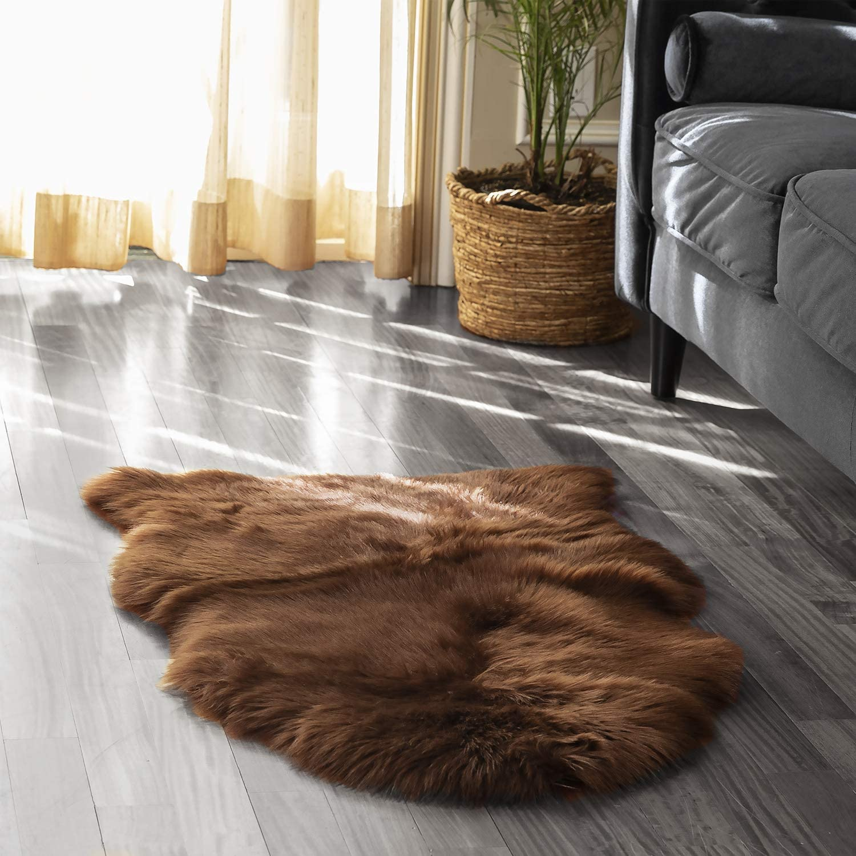 Soft Sheepskin Solid Fluffy Skin Faux Fur Fake Area Rug Washable Mats Small Rugs