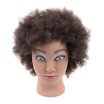 fb803b3a90762 Amazon.com   Afro Mannequin Head 100% Human Hair Cosmetology Mannequin  Training Head for Cornrow Braiding with Clamp Holder   Beauty