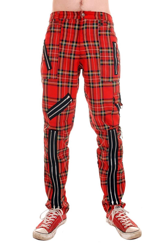 Tiger of London Red Tartan Cotton Bondage Pants (36)