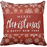 Funky Store Christmas Decorations for House Snow Flakes Merry Christmas Glazed Cotton Cushion Cover (12x12 Inches)