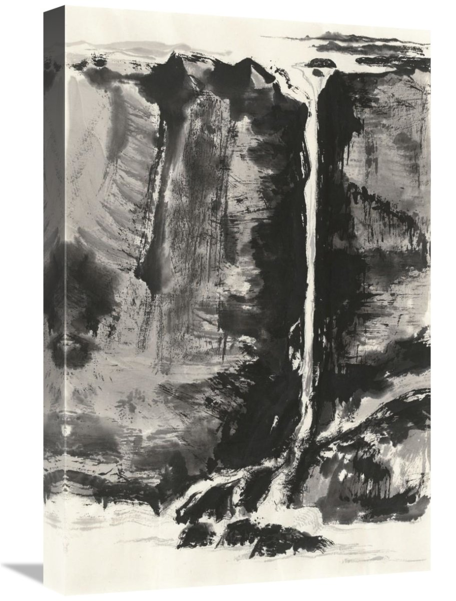 Global Gallery Chris Paschke 16 x 24 Sumi Waterfall View III Panel Canvas Artwork