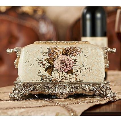 YL Caja De Pañuelos De Lujo Vintage Bandejas Creativas para El Hogar Sala De Servilletas para