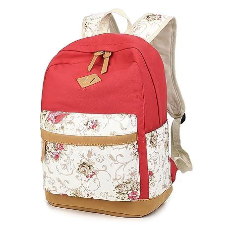 caxece Mochila De Tela para Mujer Y Nina Vintage Gran Capacidad Portatil Backpack para Escuela Viajar