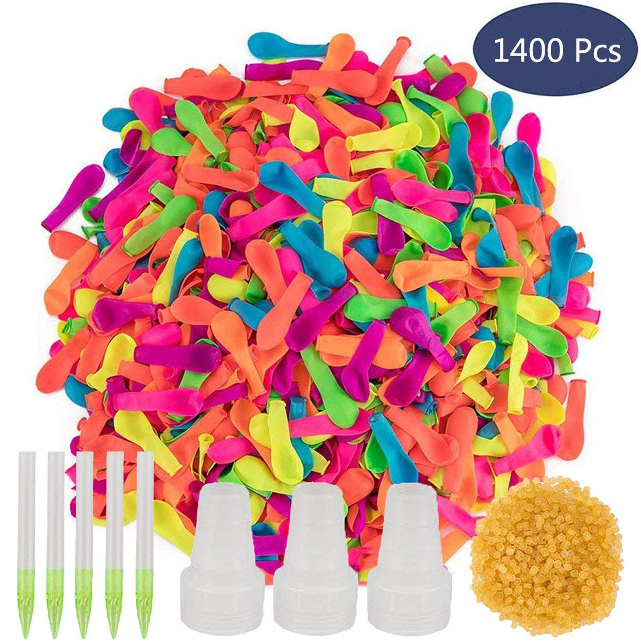 Ueerdand 1400 Pack Water Balloons Refill Kits Quick & Easy Latex Water Bomb Balloons for Kids and Adults Water Fight Games, Swimming Pool Party Summer Splash Fun