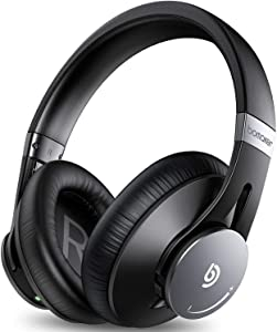 BOMAKER Active Noise Cancelling Headphones, Bluetooth 5.0 Over-Ear, Memory-Protein Earmuff Headset, CVC8.0 Mic, 360°Volume Dial, Hi-Fi Stereo Headphones with Waterproof Case
