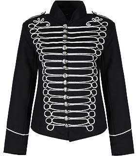 Giacca da uomo in stile gotico, steampunk, punk, emo, in rosso e nero, parata militare, parata musicale, batterista