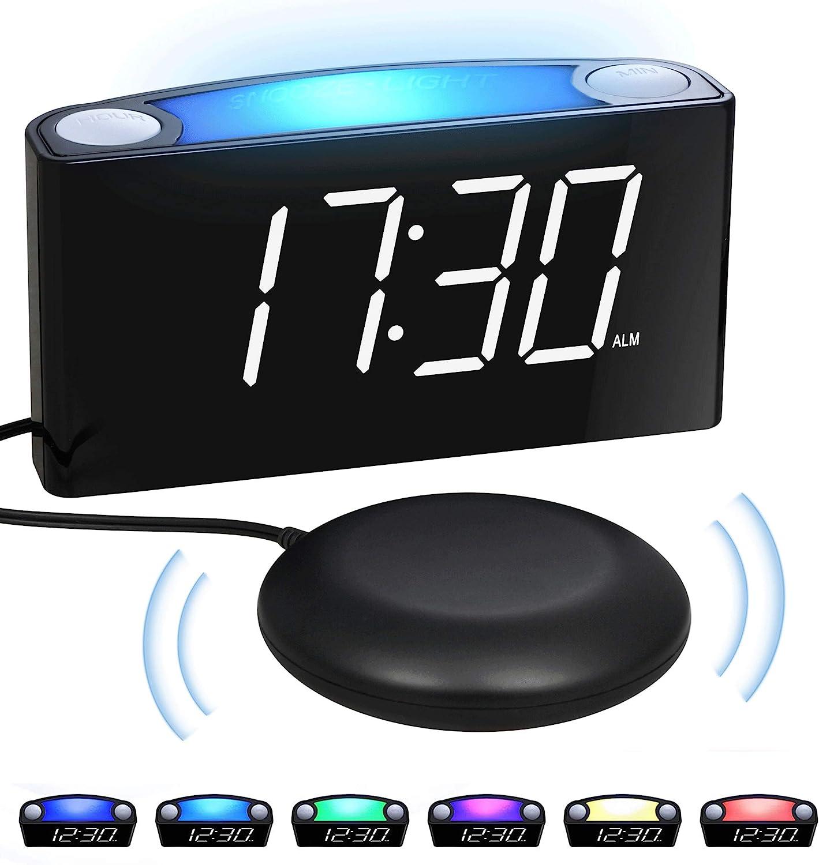 Mesqool Reloj Despertador de vibración Fuerte, Pantalla de 7