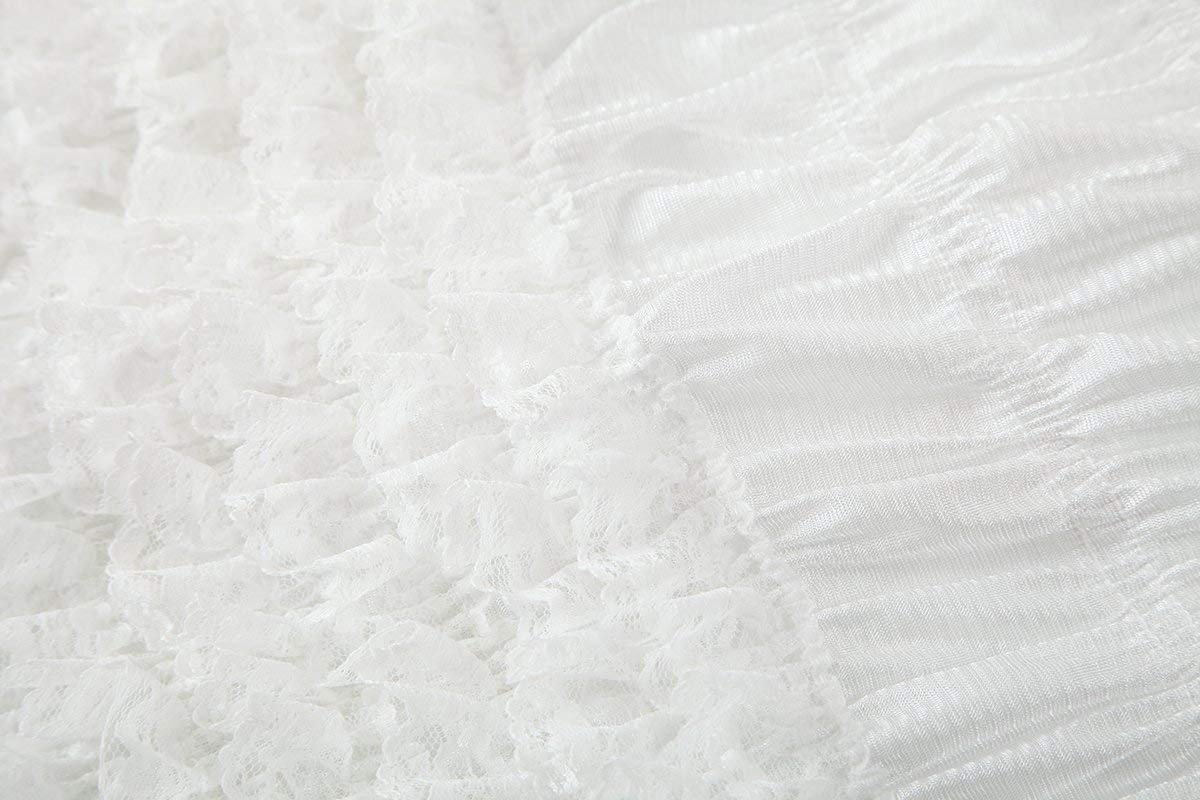 NOVAVOJO Women's Micromesh Lace Ruffle Tanga Shorts Sexy Ruffled Lace Panties Sissy Pettipant Dance Bloomers Frilly Shorts (White, Small) by NOVAVOJO (Image #2)