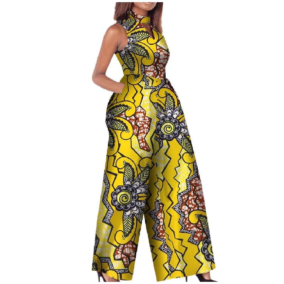 Vska Women's African Wax Fabric Classy Fine Cotton Playsuit Jumpsuit Yellow XS