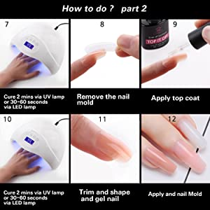 Makartt P-01 Poly Gel Kit Nail Enhancement Builder Gel Nail Extension Poly Gel Trial Kit Professional Nail Technician All-in-One French Kit (Color: A Polygel Kit)