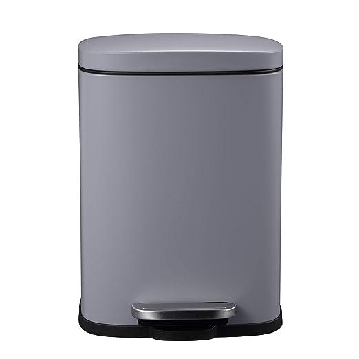 Mari Home Contenedor de Reciclaje   Cubo Basura 5L con Tapa Plana   para Dormitorio, Baño, Cocina, Jardín   Pedal y Cubo Interno   Gris