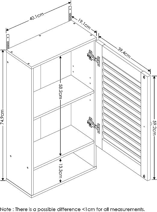 11.8 Inch Espresso FURINNO  Indo Slim Wall Cabinet
