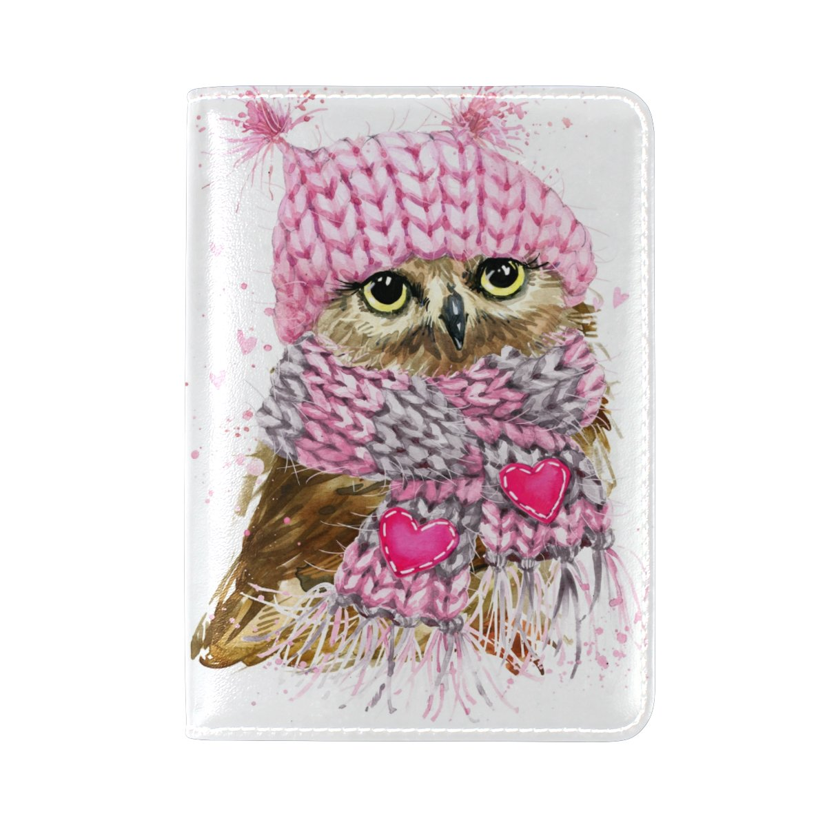 Owl Heart Waterproof Genuine Leather Travel Passport Covers Holder Case Protector