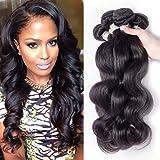 Junbeauty Hair Brazilian Virgin Hair Body Wave 4 Bundles 100% Unprocessed Virgin Brazilian Body Wave Hair Human Hair Weave Natural Black Color (12 14 16 18)