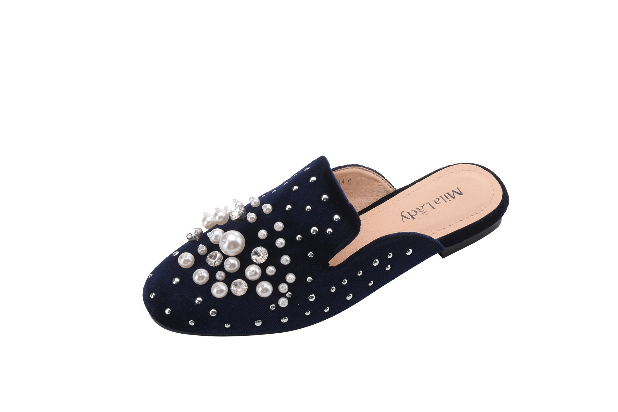 Mila Lady Womens Casual Slip On Low Heeled Mules Loafer Sandals Shoes, Sylvia Navy 9