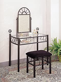 Coaster Vanity Set Includes Vanity Table Mirror And Bench Sunburst Design Black