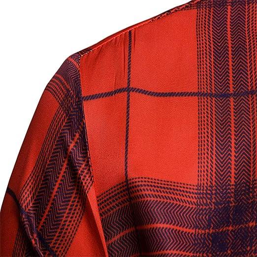 BaZhaHei Camisa Franela de Cuadros Manga Larga para Hombre Moda para hombre camisas casuales de manga larga Slim Fit Plaid Tops camiseta Otoño Invierno ...